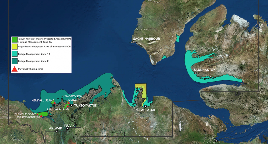 Beluga Management Zones, Marine Protected Areas, and Inuvialuit whaling camps in the ISR.